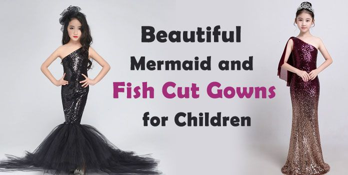 Girls mermaid Dresses - Children Fish Cut Dress, Kids Birthday Party Gowns