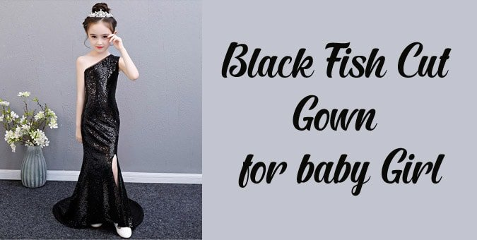 Black Fish Cut Gown for Baby Girl - Mermaid Birthday Party Dress