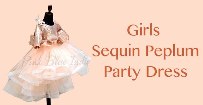 Kids Sequin Dress, Girls Sequin Peplum Party Dress
