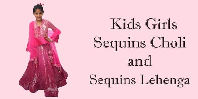 Girls Sequins Lehenga Choli - Kids Sequins Lehenga