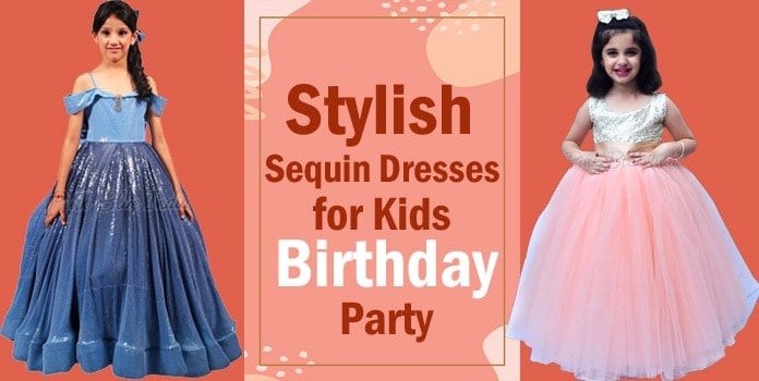 Kids Sequin Dresses - Girl Birthday Party Sequin Dress India
