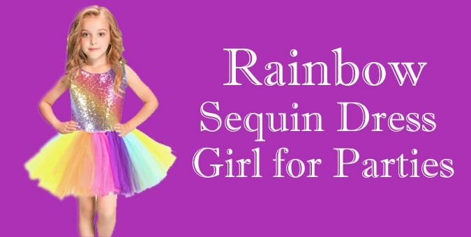 Rainbow Sequin Dress Girl party Wear