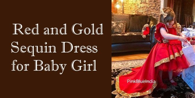 Red and Gold Sequin Dress for Baby Girl