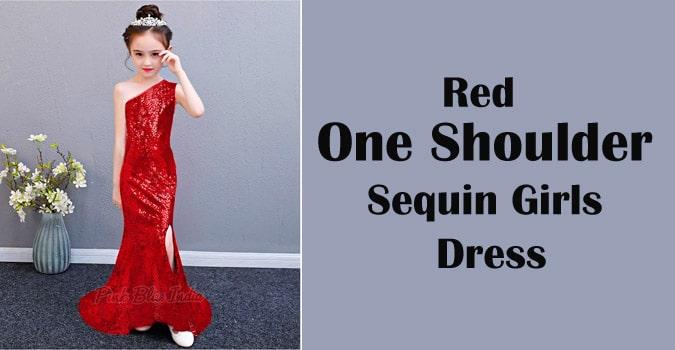 Girls Red Sequin Dress, One Shoulder Sequin Dress
