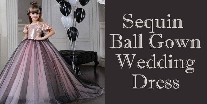 Girls Sequin Ball Gown Wedding Dress