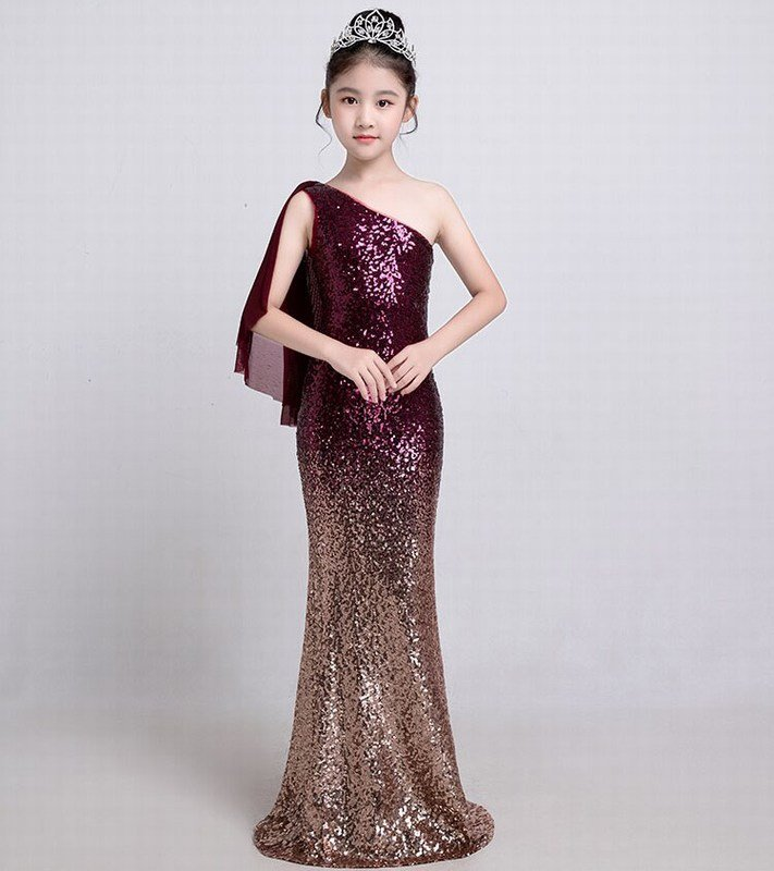 Sequin Fish Cut Gown for Girl