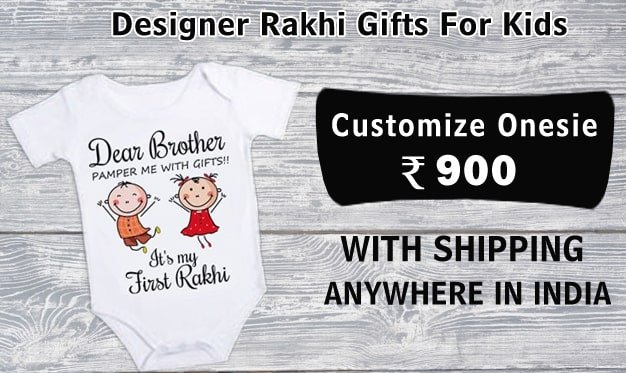 Designer Rakhi Gifts For Kids, Personalised Onesie
