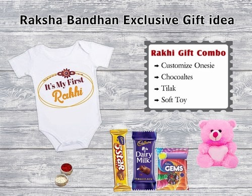 Rakhi Gift Hamper, Customize Onesie, Exclusive Rakhi Gift India