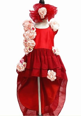 Baby Girl Red Flower Dress, Birthday Gown