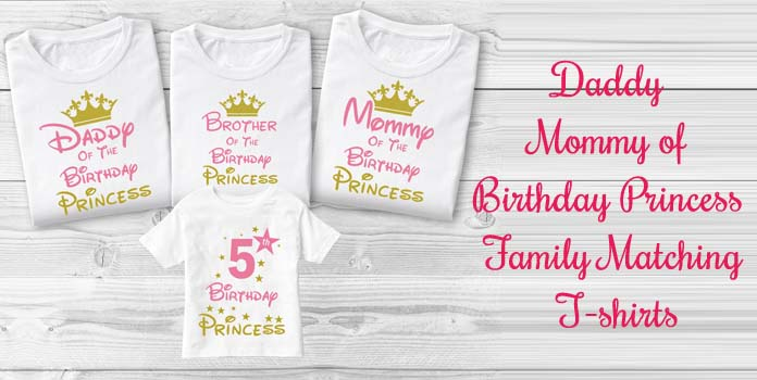 Pink Golden Birthday Family T-shirt, Daddy Mommy of Princess Birthday party Shirts