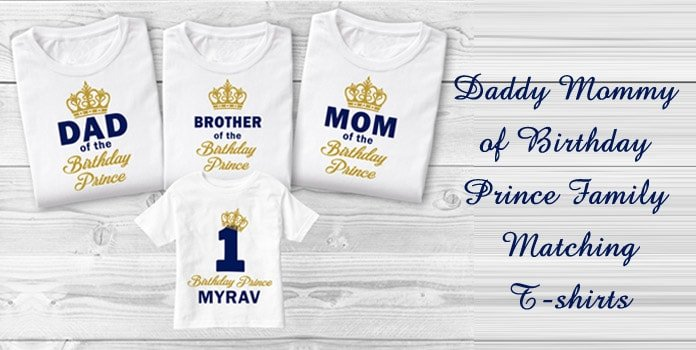Mom and Dad of the Birthday Prince Family matching T-shirts