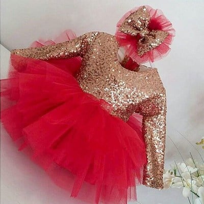 Girl Party Wear Red Sequin Dress, Red Frock Online
