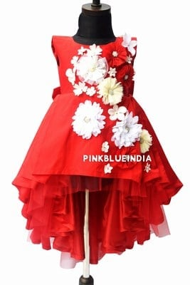 Baby Girl Red Floral Dress Online India