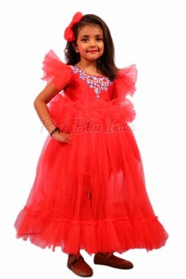Long Red Designer Frock for Kid Girl