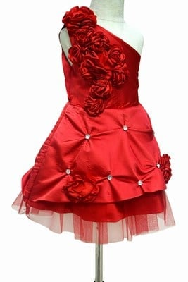 One Shoulder Baby Girl Red Dress, partywear Red Frock