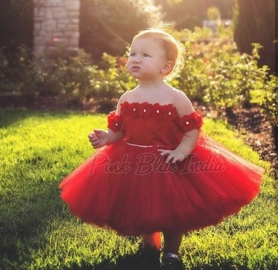Little Princess Red Frock Party Wear, red dress toddler Girl