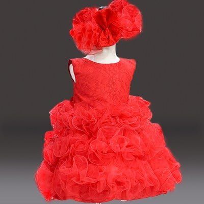 Stylish Red Frilly Baby Dress, Red Frock