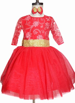 Red Party Wear Dress, Girls Birthday Dresses, Gown