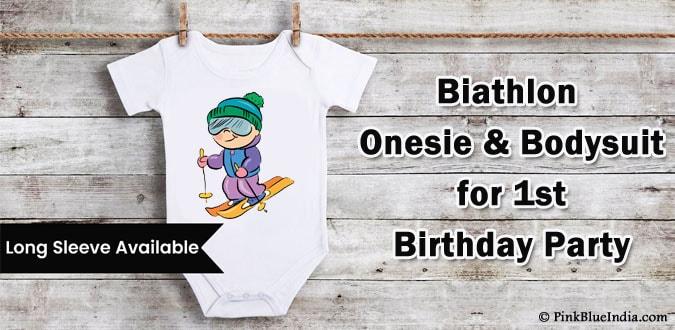 Baby Biathlon Onesie, 1st Birthday Party Theme Bodysuit