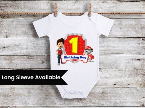 First Birthday Paw Patrol Theme Outfit, Baby Boy 1st birthday Onesie