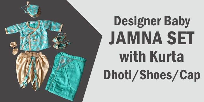 Designer Baby Jamna Set with Kurta/Dhoti/Shoes/Cap