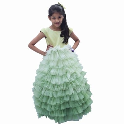 Party Wear Gowns, Green Ombre long gown for girls