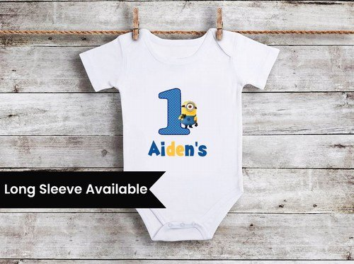 Personalized Minion Birthday Boy Shirt, Onesie Online