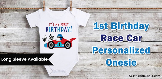 Personalized Race Car Baby Onesie, 1st Birthday Race Car Outfit