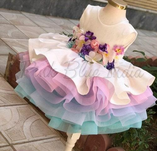 Rainbow Theme Birthday Dress, Baby Girl Rainbow Outfit