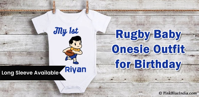 Rugby Birthday Theme Party Baby Onesie