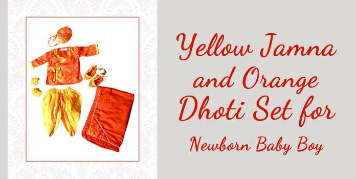 Newborn Baby Boy Yellow and Orange Jamna Set, Dhoti, Kurta, Shoes, cap