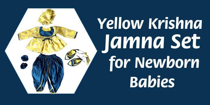 Newborn Baby Yellow Krishna Jamna Set, Ethnic Baby Jamna Dress