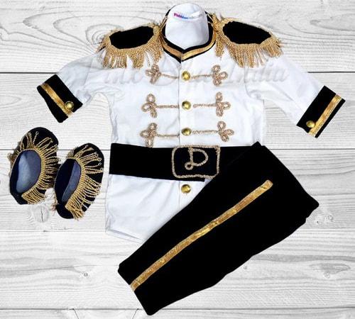 Black Royal Prince Costume for Baby Boy, Newborn Baby Prince Dress