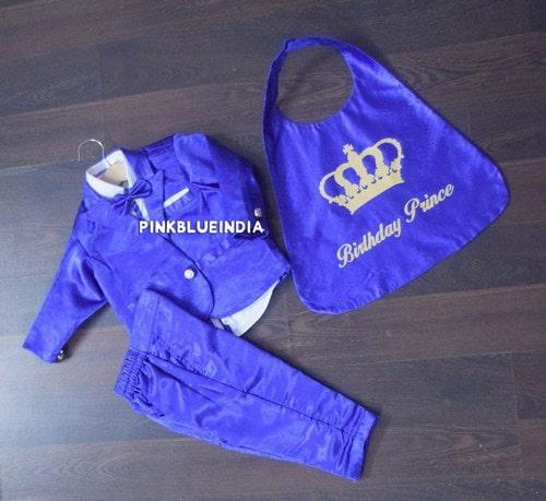 1st 2nd Birthday Smash Cake Prince King Royal Blue Outfit