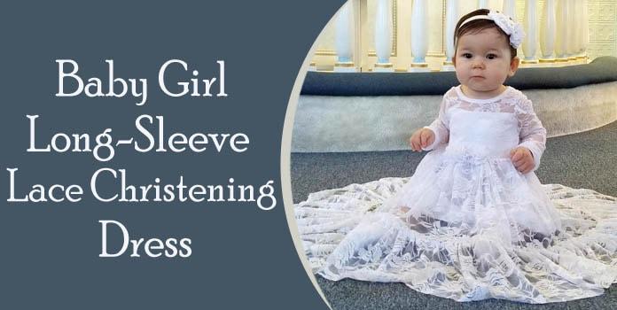 Baby Girl Long-Sleeve Lace Christening Dress, Baptism Dresses Oinline
