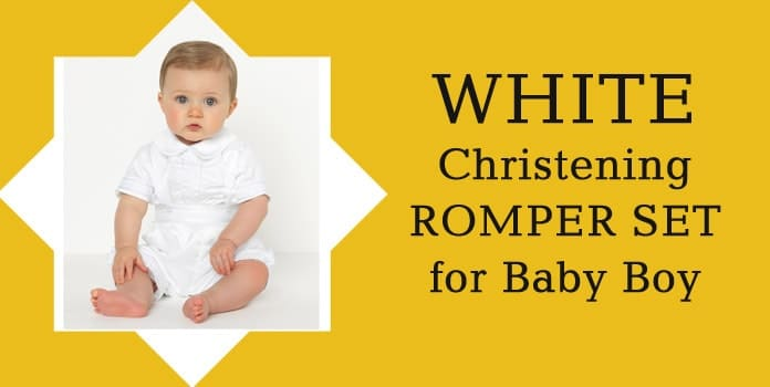 White Christening Romper Set Baby Boy Baptism Romper online India