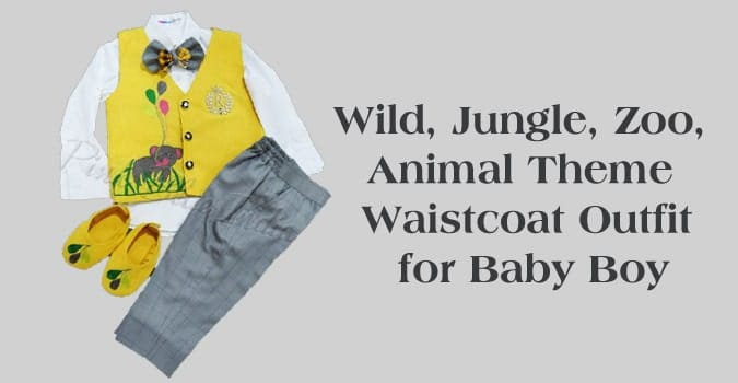 Wild, Jungle, Zoo, Animal Theme Waistcoat Outfit for Baby Boy