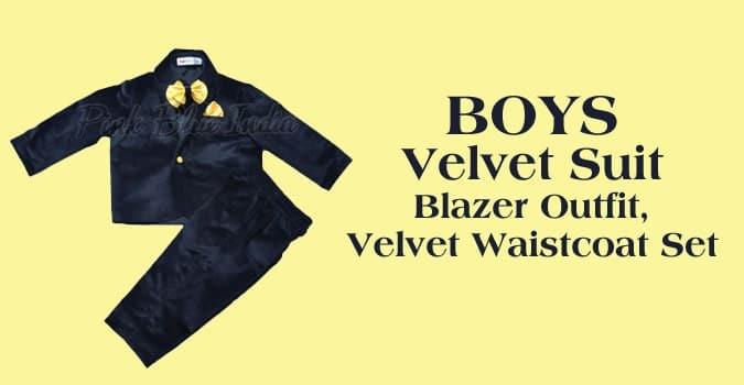 Boys Velvet Suit, Velvet Blazer Outfit, Kids Velvet Waistcoat Set