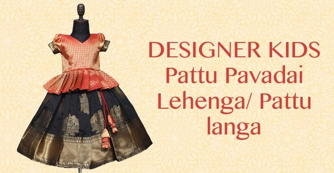 Girls Silk Pattu Pavadai Lehenga Choli, Kids Pattu langa Online