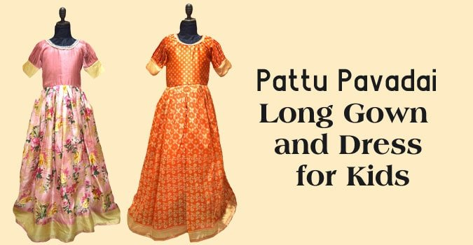 Pattu Pavadai Kids Long Gown Dress, South Indian Long Gown Frock