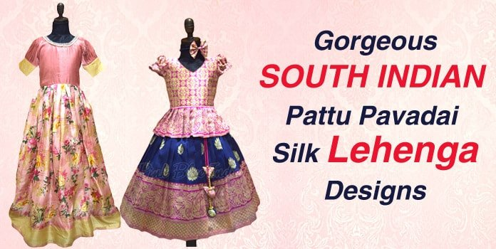 South Indian Pattu Pavadai Silk Lehenga, Pattu Pavadai Dress, Traditional Gowns
