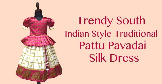 Baby Girl Kids South Indian Traditional Pattu Pavadai Silk Dress