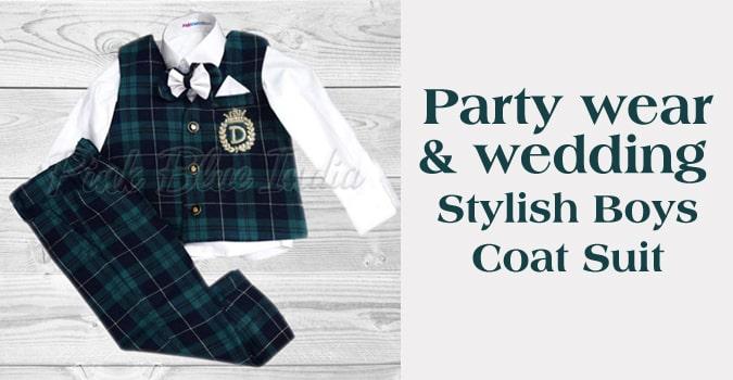 Party Wear Boys Coat Suit, Wedding Wear Waistcoat Outfit