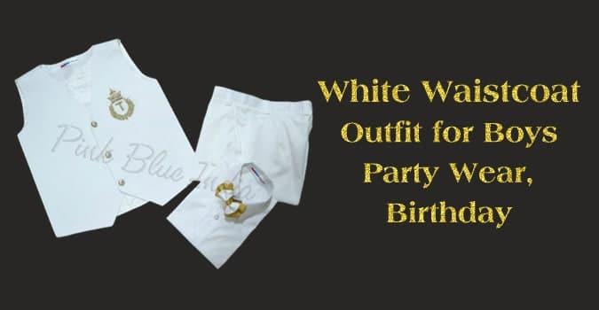 Boys Party Wear, Birthday White Waistcoat Outfit, Kids Waistcoat