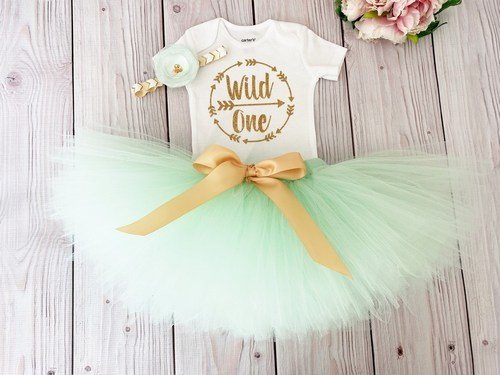 Wild One Birthday Girl Outfit Jungle Baby Girl 1st Birthday Smash Cake Dress