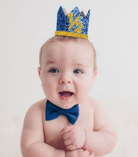Royal Prince Theme Blue and Gold Baby Boy Crown