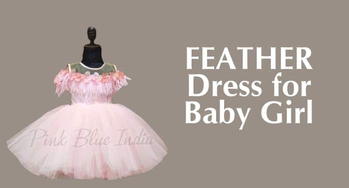 Baby Girl Party Wear Feather Dress. 6 Year Frock