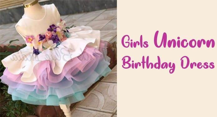 Girls Unicorn Birthday Dress, 6 year old unicorn dress