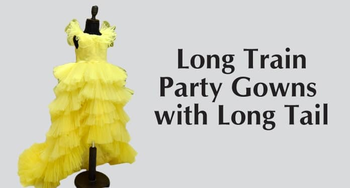 6 Year Long Train Dresses, Party Gowns with Long Tail
