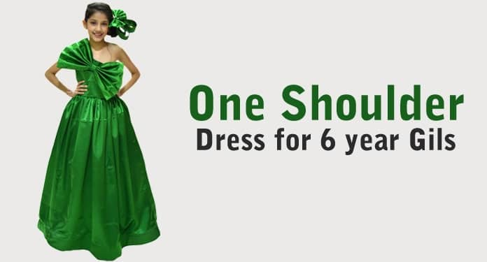 One Shoulder Dress, 6 years Girl Birthday Gown
